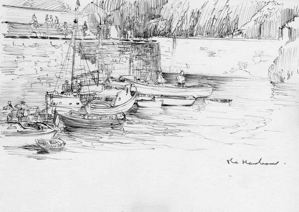 Sark Creux harbour drawing