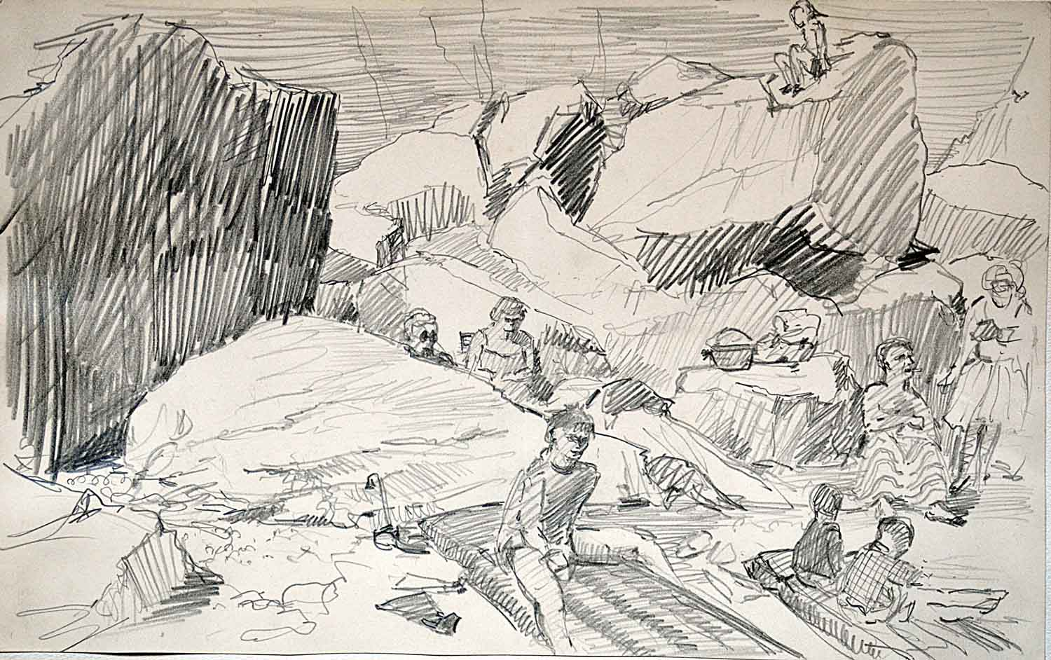 Sark, sketch of rocks & people