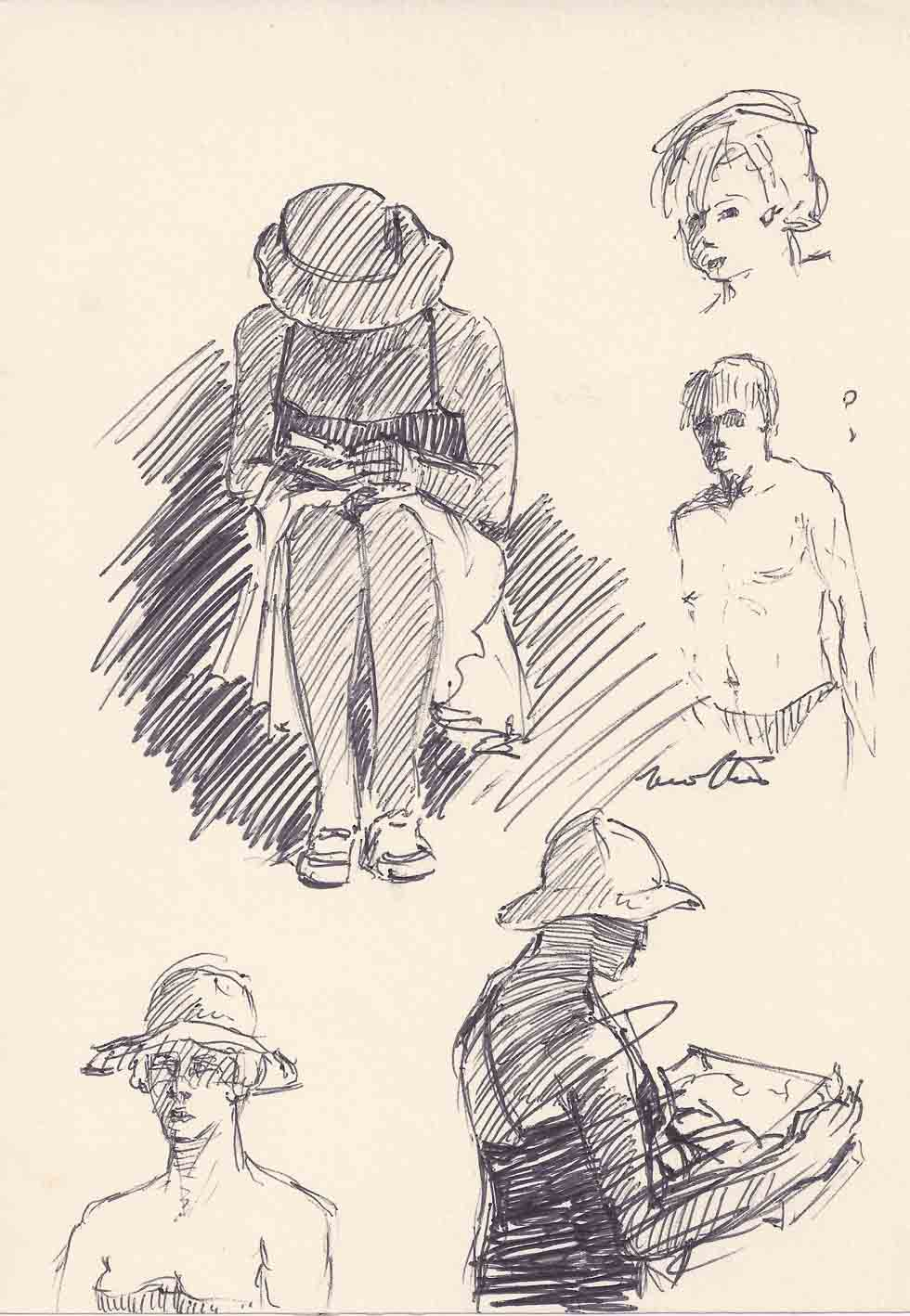 Sketches of people on beach
