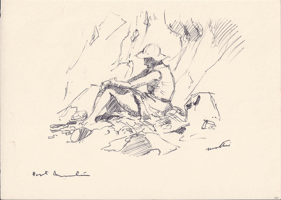 Sketch, Margaret on Beach, Sark