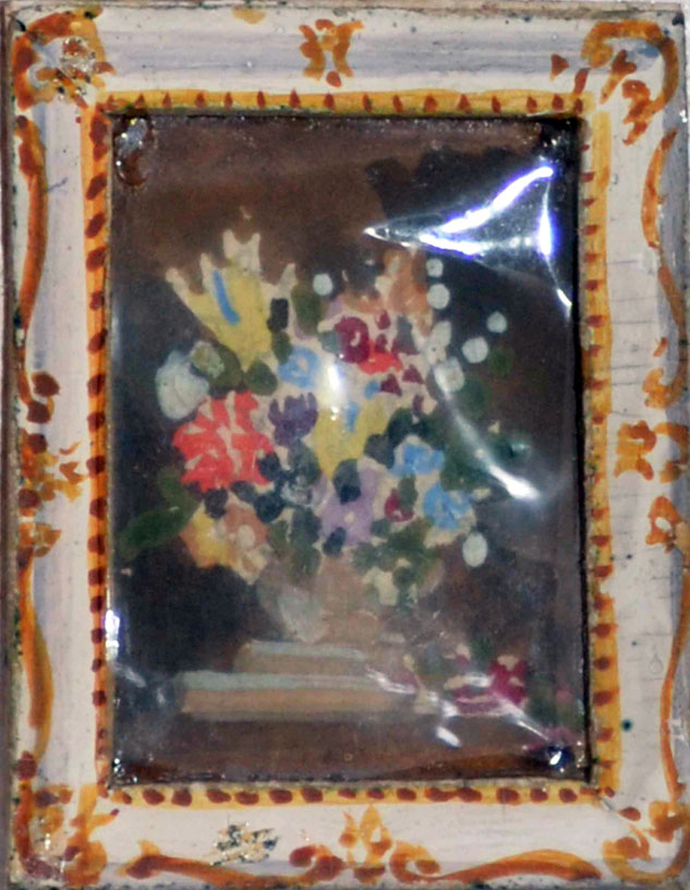 Painting in dolls house, 2.5 cm x 3.5 cm